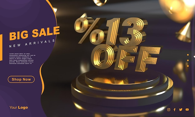 Prozent 13 goldene verkaufsbannervorlage über goldenem sockel mit dunklem hintergrund