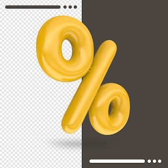 Prozent in 3d-rendering isoliert