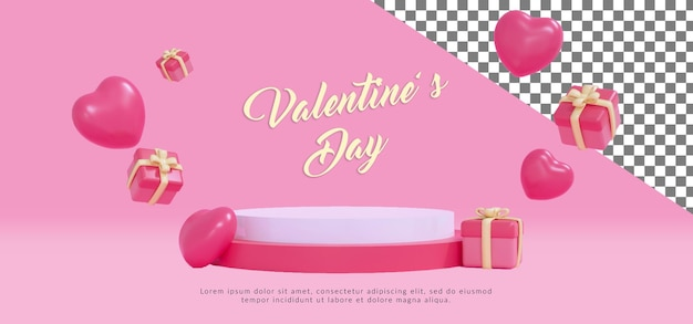 Psd happy valentine podium mit 3d-rendering