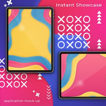 Psd-modell des perfekten ipad mit zwei pixeln auf einem bunten abstrakten hintergrund