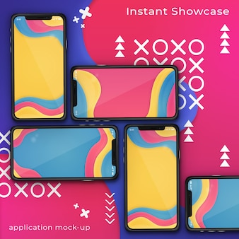 Psd-modell von smartphone fünf auf einem bunten abstrakten hintergrund