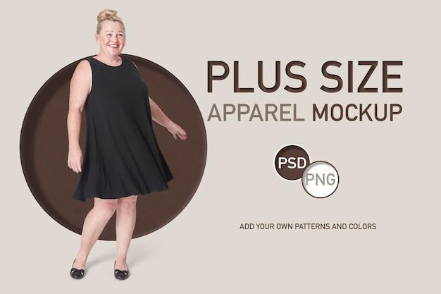 Psd plus size frauen schwarzes kleid werbevorlage