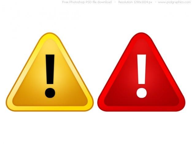 Psd rote und gelbe warnschilder