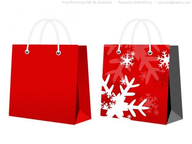 Psd roten weihnachts-bag