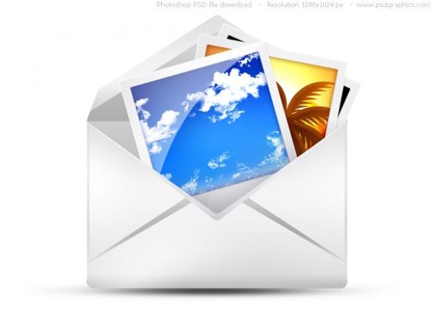 Psd umschlag, e-mail-icons set