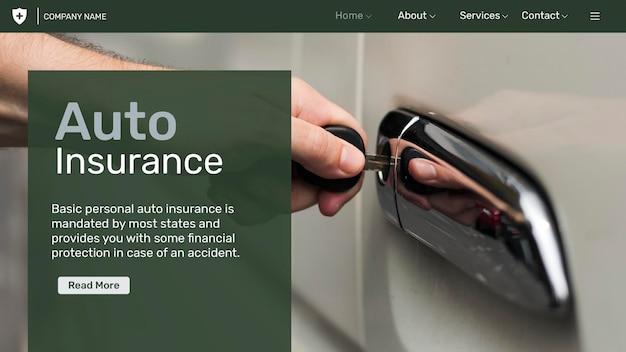 Psd-vorlage für autoversicherungen mit bearbeitbarem text