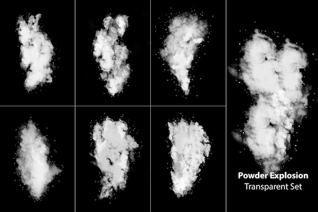 Pulver explosion rauch transparentes set