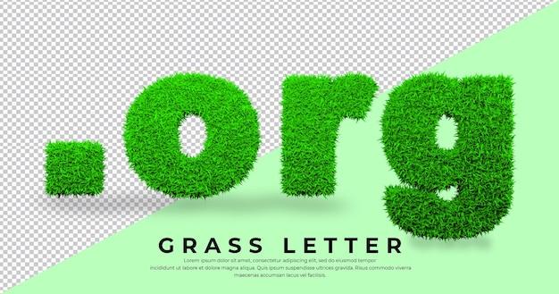 Punkt-org-buchstabe im gras isoliertes domänengras
