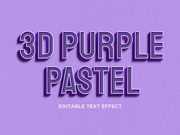 Purpurroter pastelltexteffekt 3d erstklassiges psd