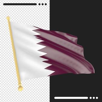 Qatar flag3d rendering isoliert
