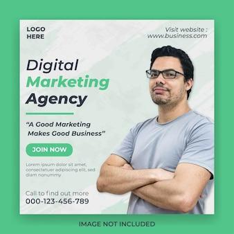 Quadratische banner-post-social-media-vorlage der marketingagentur