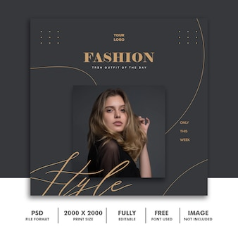 Quadratische banner vorlage für instagram, fashion gold