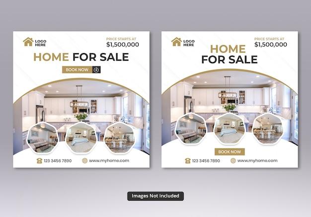 Quadratische banner-vorlagen für immobilien in sozialen medien