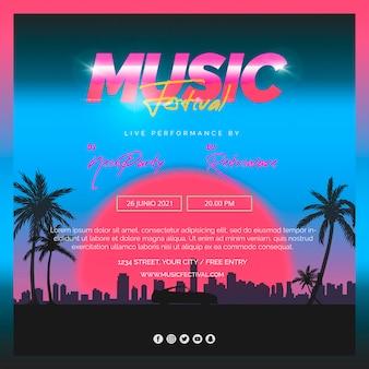 Quadratische beitragsvorlage für das musikfestival der 80er jahre