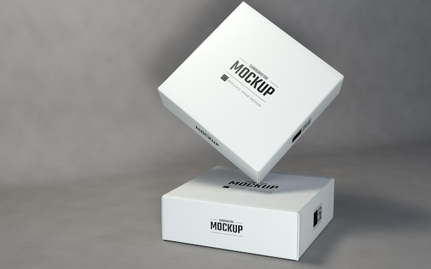 Quadratische boxen mockup design-vorlage mit grauem hintergrund