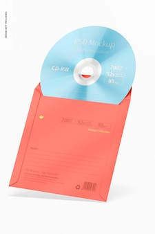 Quadratische cd-hülle mockup, angelehnt