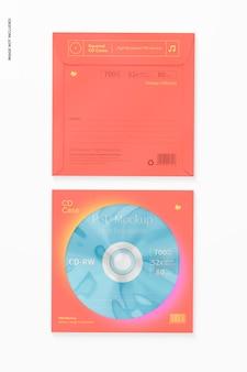 Quadratische cd-hüllen mockup, ansicht von oben