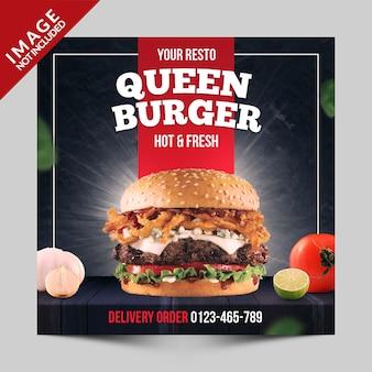 Quadratische fahne, flieger oder instagram geben für schnellrestaurant mit burgerfoto bekannt