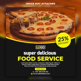 Quadratische fahne oder flieger des lebensmittels für pizzaitalienerrestaurant