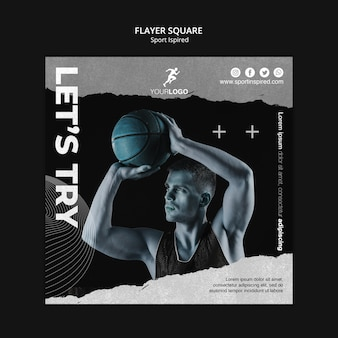 Quadratische flyer-basketball-trainingsvorlage