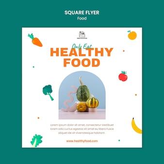 Quadratische flyer-schablone für gesundes essen
