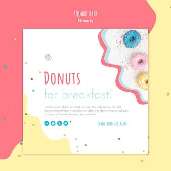 Quadratische flyer-vorlage des donut-konzepts