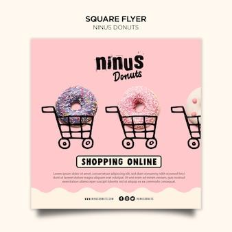 Quadratische flyer-vorlage des donuts-konzepts