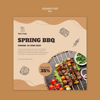Quadratische flyer-vorlage des grillkonzepts