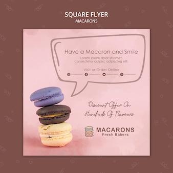 Quadratische flyer-vorlage des macarons-konzepts