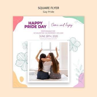 Quadratische flyer-vorlage des minimalistischen schwulen stolzes
