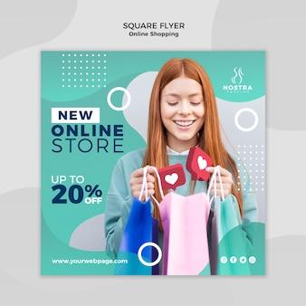 Quadratische flyer-vorlage des online-einkaufskonzepts