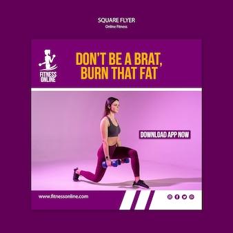 Quadratische flyer-vorlage des online-fitnesskonzepts