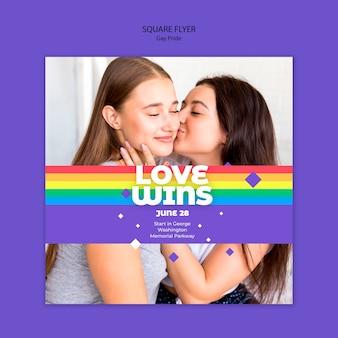 Quadratische flyer-vorlage des schwulen prinde-konzepts