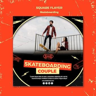 Quadratische flyer-vorlage des skateboarding-konzepts