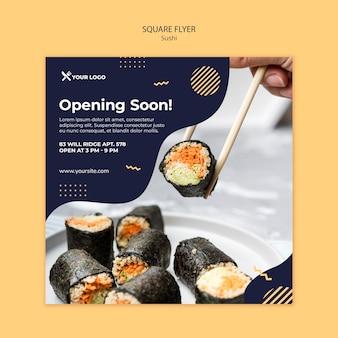 Quadratische flyer-vorlage des sushi-konzepts