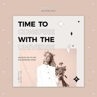 Quadratische flyer-vorlage für astrologie