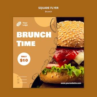 Quadratische flyer-vorlage für brunch