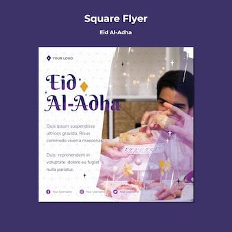 Quadratische flyer-vorlage für eid mubarak