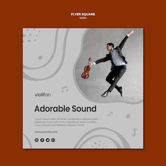 Quadratische flyer-vorlage für geigenmusikliebhaber
