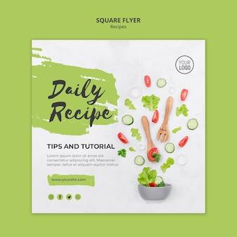 Quadratische flyer-vorlage für gesunde rezepte