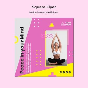 Quadratische flyer-vorlage für meditation und achtsamkeit Kostenlosen PSD