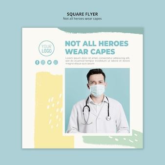 Quadratische flyer-vorlage für medizinische fachkräfte