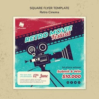 Quadratische flyer-vorlage für retro-kino