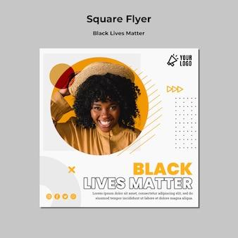 Quadratische flyer-vorlage für schwarze lebensmaterie