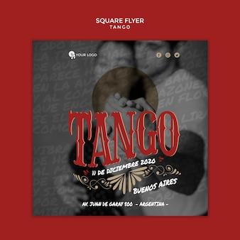 Quadratische flyer-vorlage für tango-tänzer mit mittlerem schuss