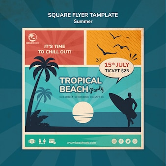 Quadratische flyer-vorlage für tropische strandparty