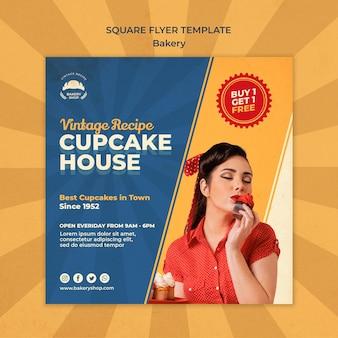 Quadratische flyer-vorlage für vintage-bäckerei mit frau