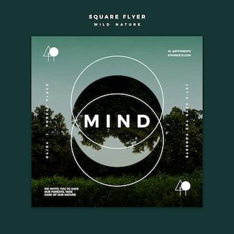 Quadratische flyer-vorlage für wilde natur