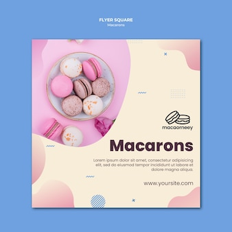 Quadratische flyer-vorlage mit macarons