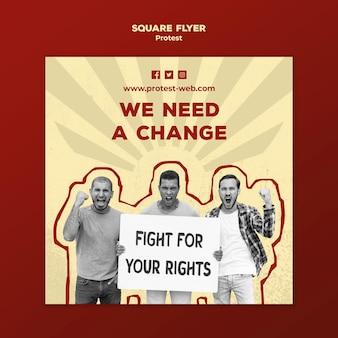 Quadratische flyer-vorlage mit protest für menschenrechte